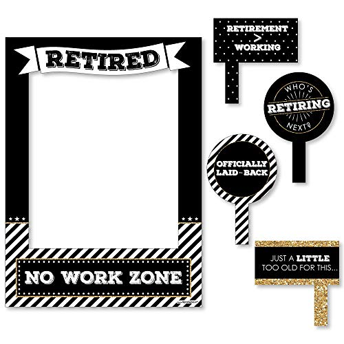 Big Dot of Happiness Happy Retirement - Retirement Party Selfie Photo Booth Picture Frame & Props - Printed on Sturdy -