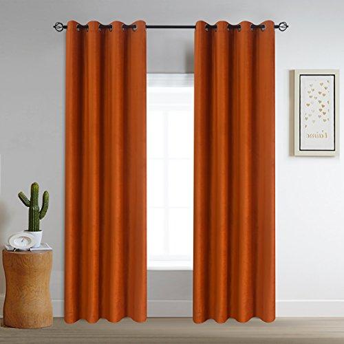 Roslyn home Velvet Curtains Grommet Top Window Curtain Panel Pair Room Darkening Drapes Orange 52Wx96L(2 Panels) Custom - Drape Custom Panel