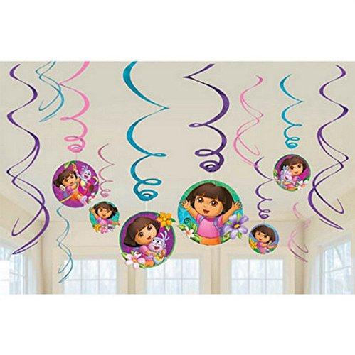 (Nickelodeon Dora Dangling Swirl Decorations Birthday Party Supplies Favor)