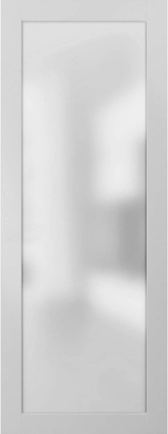 Opaque Glass Door Panel Slab 36 x 80 | Planum 2102 White Silk | Use as Barn Pocket Sliding Closet | Solid Wood Core Interior Door