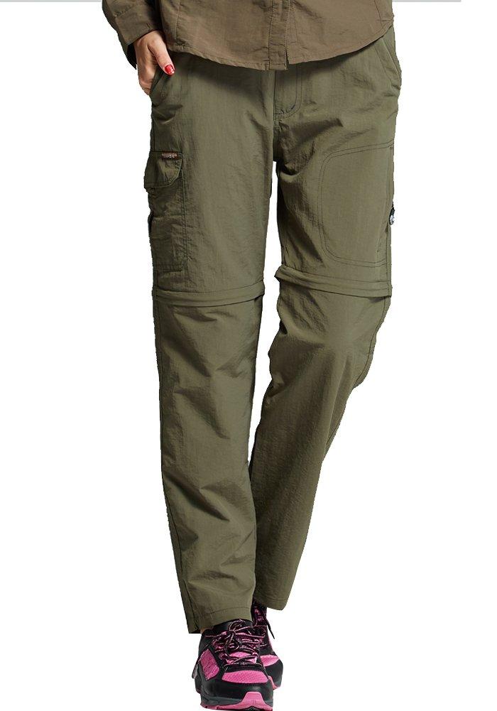 Women's Outdoor Trousers Lightweight Zip Off Convertible Fishing Cargo Pants Quick Drying Hiking Pants #8022,Army Green,XL(35-36)
