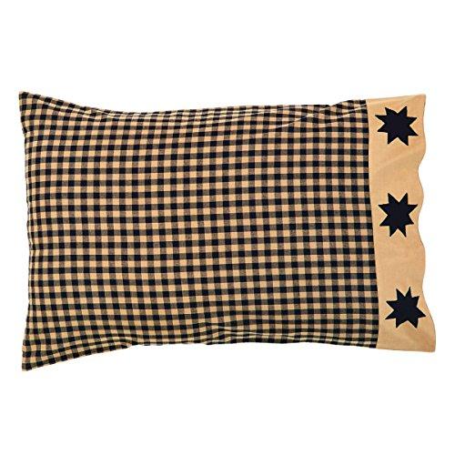 VHC Brands Primitive Bedding Lansing Black Cotton Appliqued Star Pillow Case Set of 2, Standard, Country