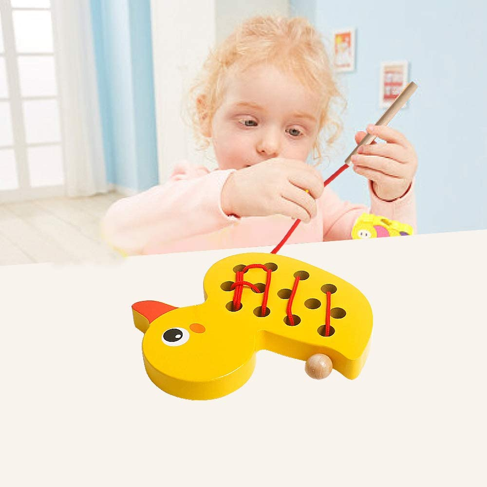 Airplane Car Travel Game Montessori Cognition Preschool Puzzle Gift for 1 2 3 Years Old Toddlers Baby Kids Boys Girls USATDD Wooden Lacing Duck Animals Fine Motor Skills Threading Toys