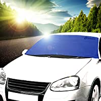 Zone Tech Car Windshield Cover Protector - Blue All Weather Premium Quality Windshield Car Protector in a Self-Convertible Storage Pouch
