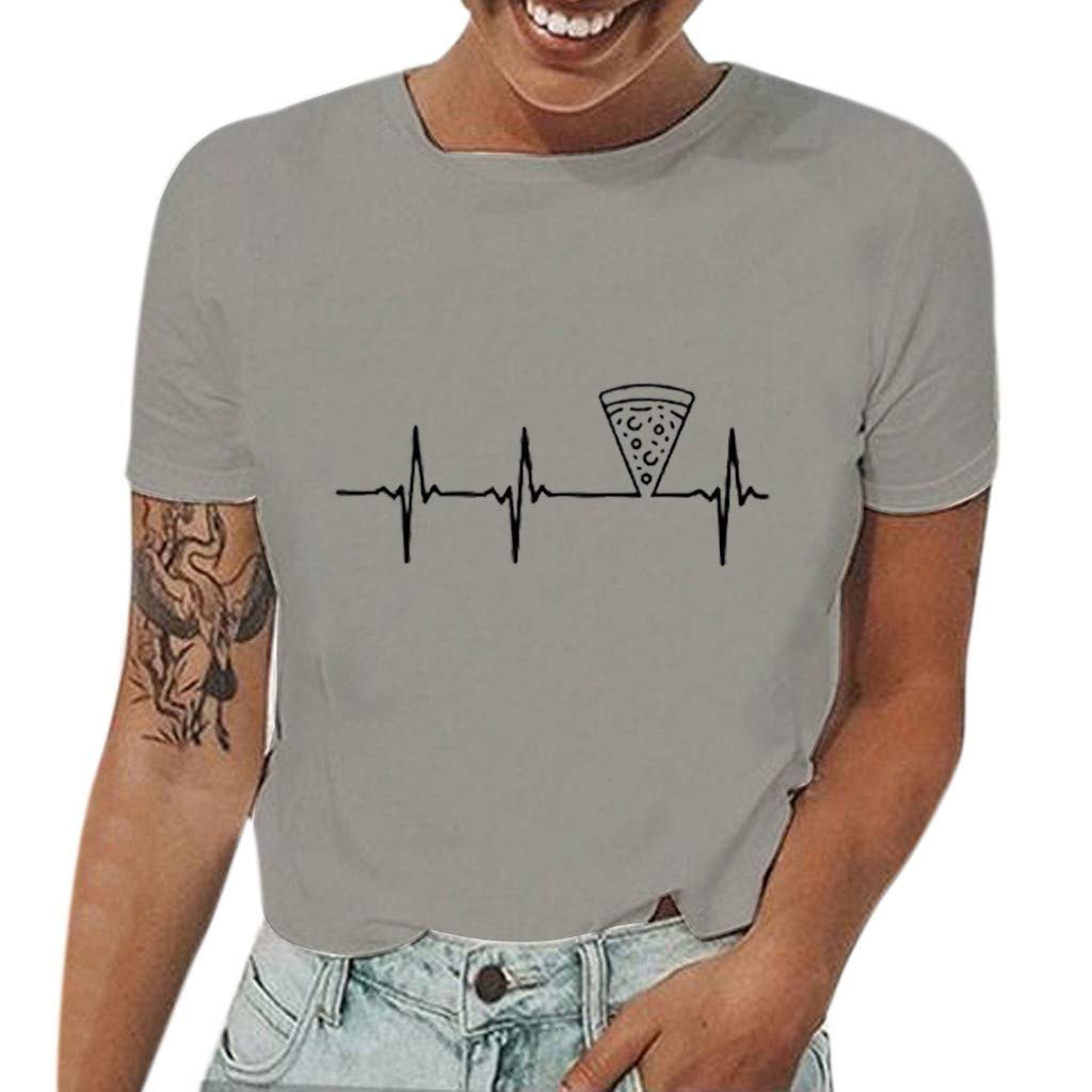 Duseedik Women's Summer Tops Casual Cartoon Print T-Shirt O-Neck Print Short Sleeve Top Blouse Tank Tops Gray