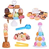kids ice cream game - Fun Little Toys Scoop Stacking Ice Cream Cone and Desserts Tower-54Pcs Pretend Food Play Set for Kids Balancing Game,Birthday Party Favors