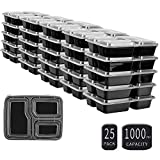 25 SZUAH Meal Prep Containers - 3 Compartments Food Prep Containers - Bento Lunch Boxes with Lids, FDA Approved & BPA Free, Stackable & Reusable, Dishwasher/Microwave/Freezer Safe,34 oz.