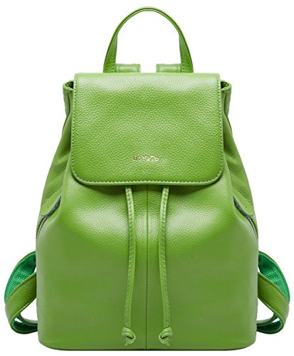 BOYATU Genuine Leather Backpack for Women Elegant Ladies Travel School Shoulder Bag Green-02