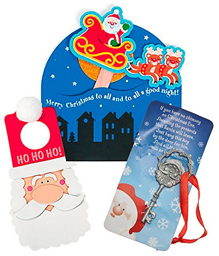 CHRISTMAS SALE! 'Merry Christmas to All' Sign Craft Kit, Santa Doorknob Hanger Craft Kit AND Two (2) FREE Santa Keys! 26 Pieces!