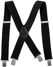 Men Utility Suspenders Adjustable Elastic - Heavy Duty 2 Inch Wide X Shape Strong Clip Suspender