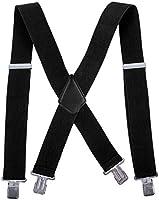 Men Utility Suspenders Adjustable Elastic - Heavy Duty 2 Inches Wide X Shape Strong Clip Casual Suspender
