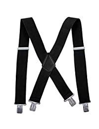 Men Utility Suspenders Adjustable Elastic - 2 Inch Wide X Shape Suspender