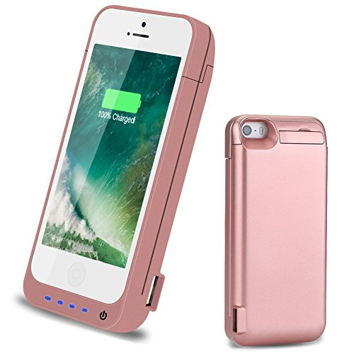 iPhone 5S/SE/5C/5 Battery Case,4800mAh High Capacity Portable Protective Charging Case for iPhone 5S (Built in Extra USB Power Bank) Extended Battery Charger Case Battery Pack (4.7 Inch) - Rose Gold