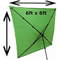 6x6 PORTABLE Chromakey Green Screen Background Backdrop Starter Bundle Kit WITH COLLAPSIBLE STAND AND CARRYING CASE for Photo Video Photography Studio