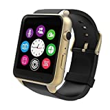 Evershop Newest SIM Card Bluetooth Smart Watch GSM Phone Wristwatch Phone Mate Independent Smartphone for Android and IOS (Golden)