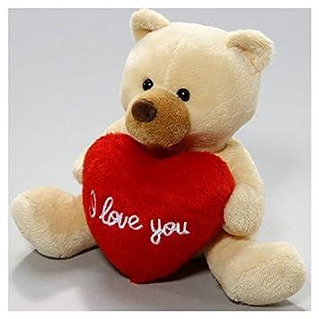 carl dick peluche ours en peluche avec beige de coeur 13cm jouet 2563001 - Ours Coeur