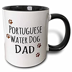 3dRose 153966_4 Portuguese Water Dog Dad - Doggie by breed - muddy brown paw print Mug, 11 oz, Black 11