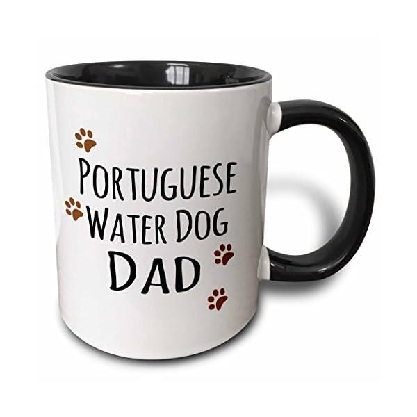 3dRose 153966_4 Portuguese Water Dog Dad - Doggie by breed - muddy brown paw print Mug, 11 oz, Black 1
