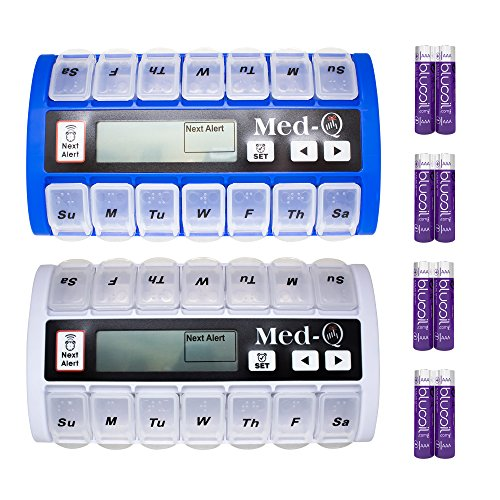 Grab Auto System - MED-Q Medication Compliance System Programmable Smart Pill Box (1 White, 1 Blue) Bundle with 4 Blucoil AAA Batteries