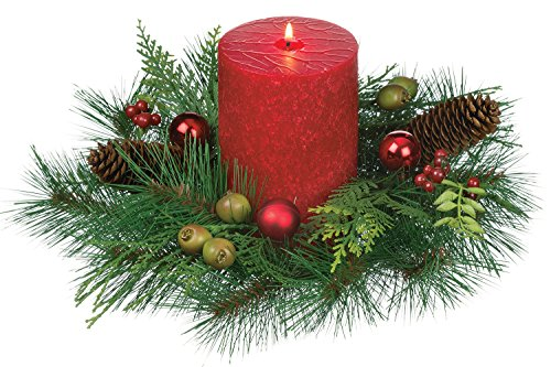 12 inch diameter christmas mixed pine pillar candle holder with red ornaments berries and pine cones