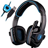 Cheap SADES SA901 Over Ear USB Wired 7.1 Surround Noise Cancelling PC Gaming Headset with Microphone (Black/Blue)