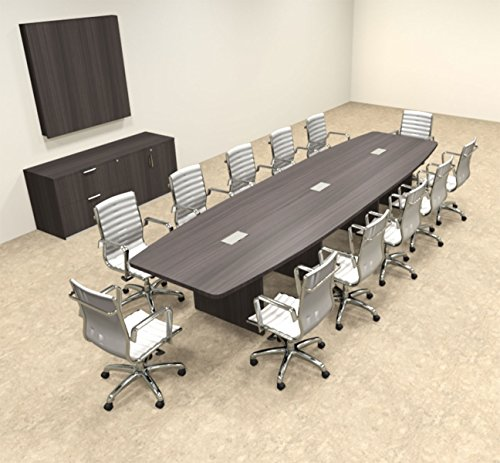Modern Boat Shapedd 14' Feet Conference Table, #OF-CON-C135 by UTM