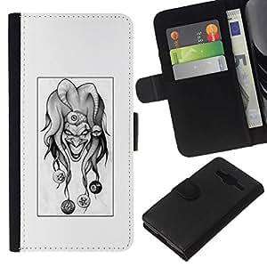 NEECELL GIFT forCITY // Billetera de cuero Caso Cubierta de protección Carcasa / Leather Wallet Case for Samsung Galaxy Core Prime // Evil Joker B & W