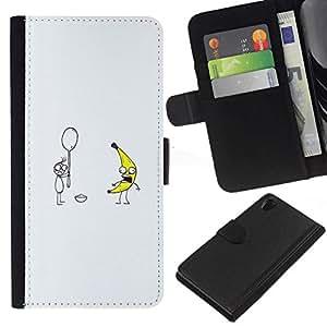 All Phone Most Case / Oferta Especial Cáscara Funda de cuero Monedero Cubierta de proteccion Caso / Wallet Case for Sony Xperia Z2 D6502 // Banana & Spoon = Funny