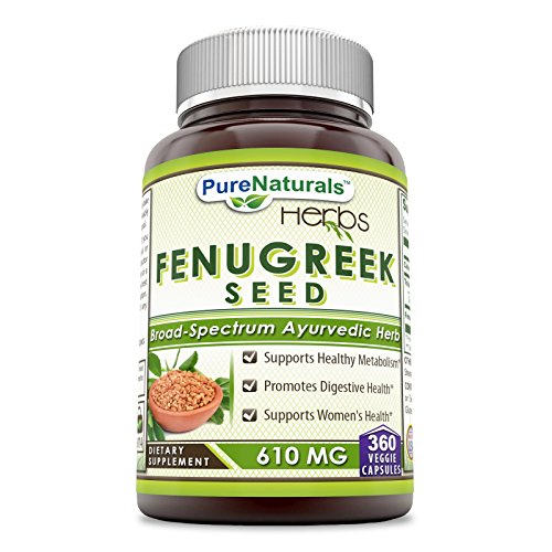 Pure Naturals Fenugreek Seed Supplement, 610 Mg (360 Capsules) - *Supports Healthy Metabolism & Women's Health* Promotes Digestive Health* ()