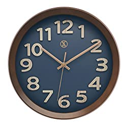 JustNile x A.Cerco | 12 Dark Brown Wood Grain Large Wall Clock | Non-Ticking Silent Movement | Thick Vintage Frame | Blue Clock Face | Plated Rose Gold Hands