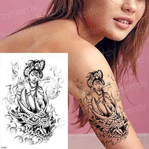 tzxdbh Tatuaje gótico Mujer Tatuajes temporales a Prueba de Agua ...