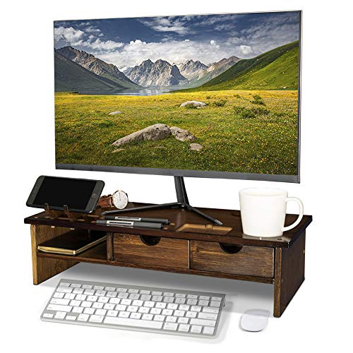 (Crestlive Products Bamboo Wood Monitor Stand with Book Shelf Set Ergonomic Computer Riser with Storage Organizer Drawers Desktop Laptop Shelf Risers Cellphone Stand for Home and Office Use (Walnut))