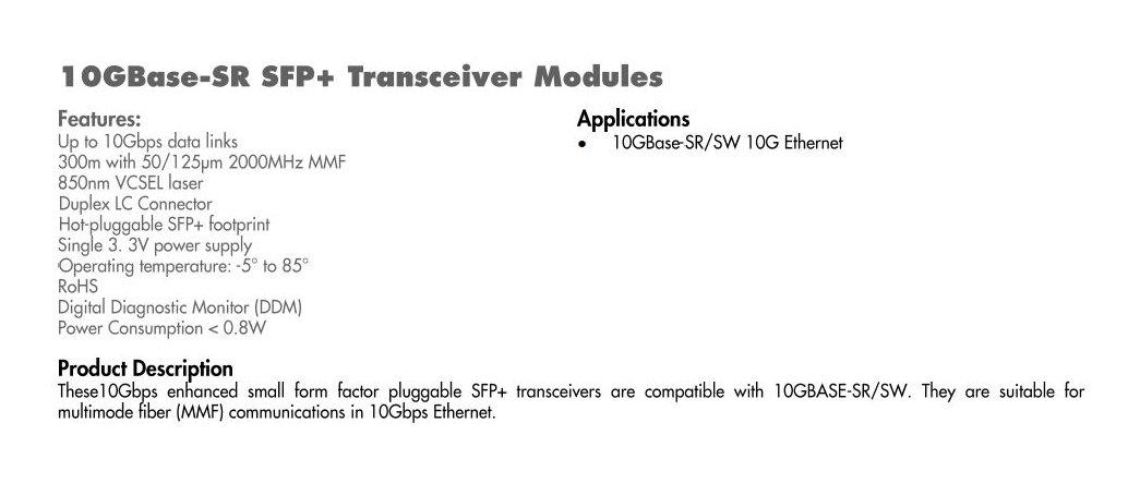 C2G/Cables to Go Cisco SFP-10G-SR Compatible 10GBase-SR MMF SFP+ Transceiver Module