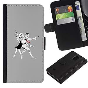 Billetera de Cuero Caso Titular de la tarjeta Carcasa Funda para Samsung Galaxy S5 Mini, SM-G800, NOT S5 REGULAR! / Man Woman Criminal Gun Art Drawing / STRONG