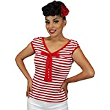 Apparel : Pinky Pinups Women's Striped V-Cut French Top Red/White
