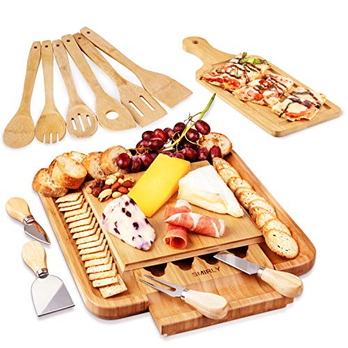 Charcuterie Cheese Board & Knives Set: Bamboo Serving Trays & Pizza Platter for Parties, Entertaining or House Warming - Wood Cutting Tray with Pull Out Knife Drawer, Steel Cutlery & - Present Small