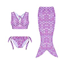 3pcs Fancy Children Swimmable Mermaid Tail Swimsuit Set Bikini