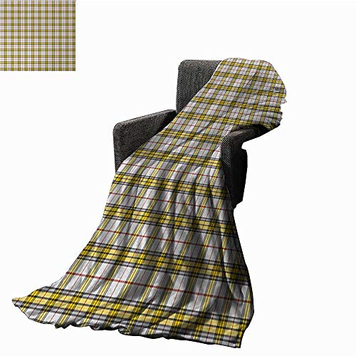 Full-blown flowers Abstract Weave Pattern Extra Long Blanket Scottish Tartan Pattern Criss Crossed Horizontal Vertical Bands Image,Super Soft and Comfortable,Suitable for Sofas,Chairs,beds