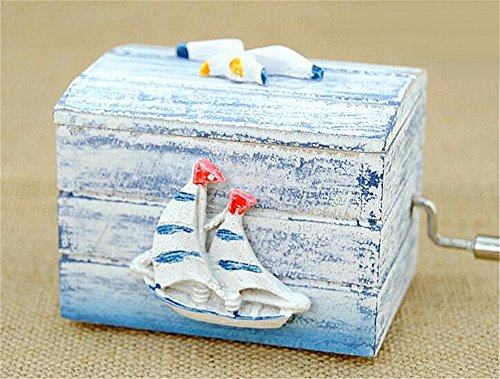 (Biscount Hand Crank Mini Sailboat with Seagull Classic Clockwork Wood Music Box Castle in the Sky Musical Box for Kids Girls Women Gift)
