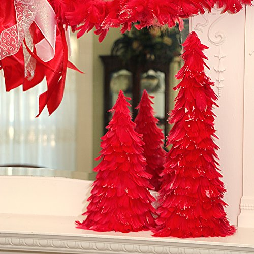 ZUCKER  Tipped Coquille Feather Christmas Tree - Red/Opal Lurex - 18