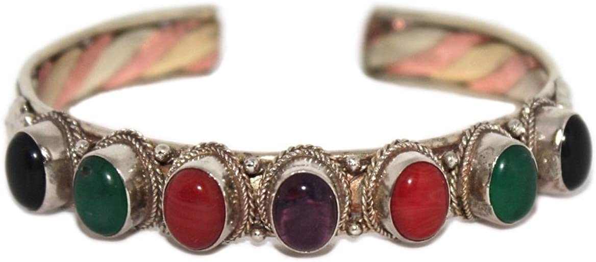 Amethyst Onyx Yoga Bracelet Nepal Bracelet Tibetan Bracelet Quartz Jasper Bracelet