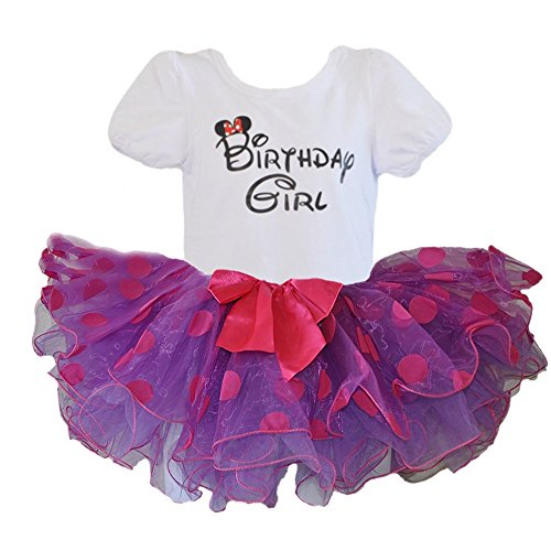 Birthday Girl T-Shirt with Polka Dot Tutu 2 pcs Set (Age 2, Purple/pur) (Show Girl Outfits)