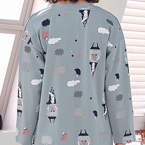 Piernas Artificial Lindo Para Otoño t Verano Falda Pijama Larga Primavera Y Femenina Hogar Calentadores De Servicio Algodón Femenino Cómodos Largo Mujer Manga Corte UqAwc5X