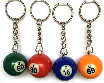 BINGO bola llavero juego de 4 Números aleatorios: Amazon.es ...