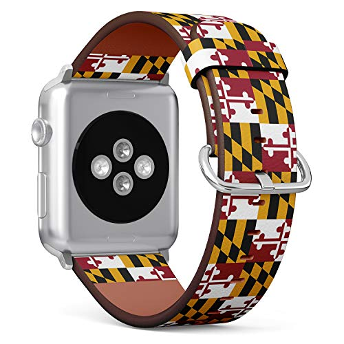 (State Flag of Maryland) Patterned Leather Wristband Strap for Apple Watch Series 4/3/2/1 gen,Replacement for iWatch 38mm / 40mm Bands