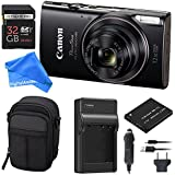 Canon PowerShot ELPH 360 Digital Camera w/Wi-Fi & NFC Enabled (Black) ESSENTIAL BUNDLE - Digital Camera Case + 32GB SD Card + Extra Battery & Battery Charger Kit + DigitalAndMore Micro Fiber Cloth