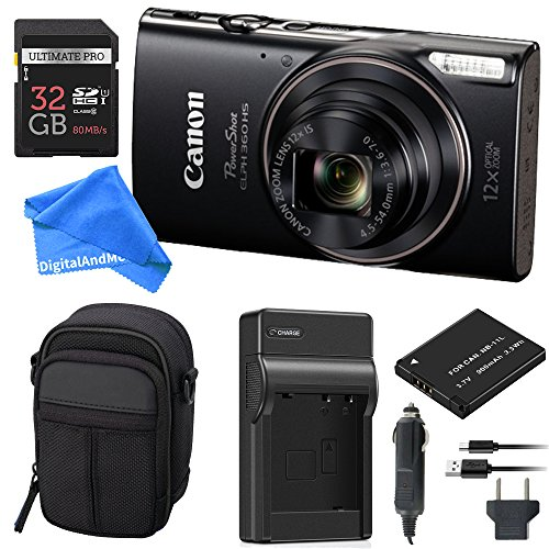Canon PowerShot ELPH 360 Digital Camera w/Wi-Fi & NFC Enabled (Black) Essential Bundle – Digital Camera Case + 32GB SD Card + Extra Battery & Battery Charger Kit + DigitalAndMore Micro Fiber Cloth
