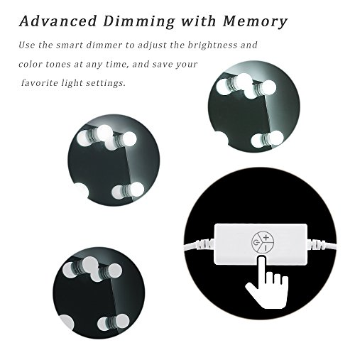 Waneway Hollywood Vanity Lights for Lighted Makeup Mirror Dressing Table DIY LED Lighting Strip Stick on Plug in with Dimmer and Power Supply, 6 Light / 9 FT, Mirror Not Included - bedroomdesign.us
