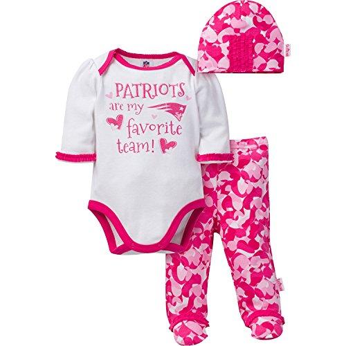 "Gerber Childrenswear ""Favorite Team"" Bodysuit, Pant & Cap Set, 3 - 6 Months, Pink, New England Patriots"