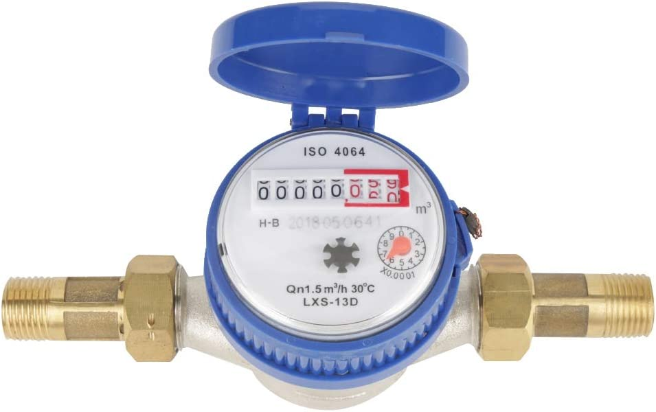 Asixx Water Flow Meter, Water Meter 15mm 1/2 inch Cold Water Meter with Fittings for Garden and Home Usage, Made of Iron and ABS